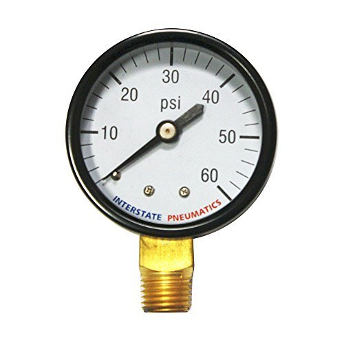 Interstate Pneumatics G2012-060 2 Inch 60 PSI - 1/4 Inch NPT Bottom Mount Pressure Gauge by Interstate Pneumatics (Bottom Mount Npt)