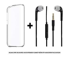 Asus Zenfone 2 Laser ZE551KL (5.5'') Transparent Back Cover Premium Crystal Clear Case and 3.5mm Jack Stereo Earphones ( Headphones / Handsfree / Headset ) Black by Albacase