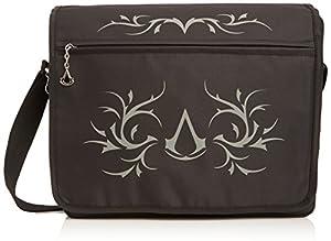Assassin's Creed Black Premium Messenger Bag with Crest & Tribal Design - Casual Shoulder Satchel