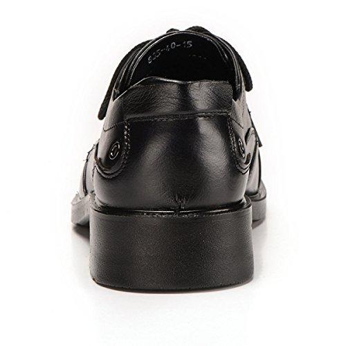 GRRONG Herren Lederschuhe Echtes Leder Geschäft Freizeit Schwarz Black