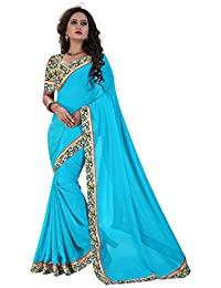 Shree Laxmi Cretion Women's Chiffon Saree With Blouse Piece (Ss1074_Blue)