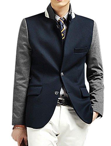 Hommes Hiver Bloc De Couleur Veste Droite Poches Dos Fendu Blazer Bleu Marine