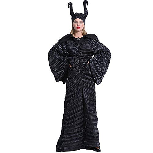 Dunkle Zauberin Für Kleid Kostüm Erwachsene - BGROEST Halloween Lady Kleid Halloween Kostüme Schlaf Fluch Dunkle Hexe Kostüme Hörner Hexen Uniformen (Farbe : Schwarz, Größe : XXXL)