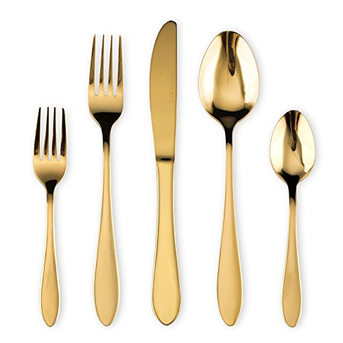 HOMQUEN Cutlery Set, Gold Flatware Set, Stainless Steel Set Service for 6 Person, 30 Pieces Dining Cutlery