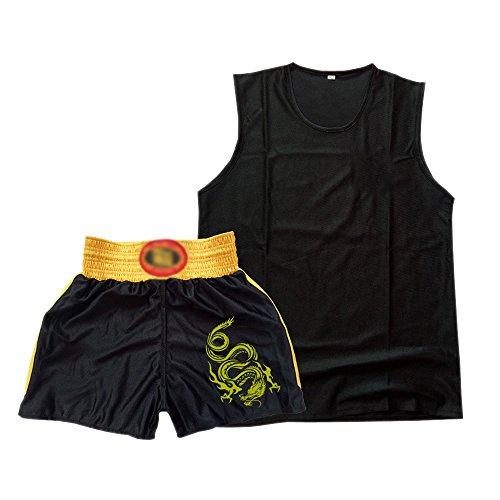 Fuyingda Sanda Suit Artes Marciales Kung Fu Boxeo Chaleco Pantalones Cortos Ropa Patrón de Dragón