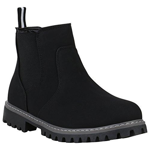 Stiefelparadies Herren Chelsea Boots Leicht Gefütterte Wildleder-Optik Schuhe 152303 Schwarz Agueda 44 Flandell