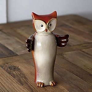 WFSDKN Dekoration Vintage Eulenverzierung Keramik Tier Glückseule Miniatur Wohnaccessoires Porzellan Eulen Wohnaccessoires Geschenkartikel Kunsthandwerk, rot