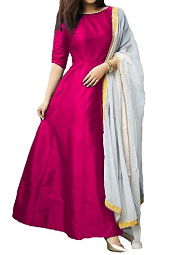 Vrundavan Fashion anarkali semi stichhed gown(tamli_Pink)