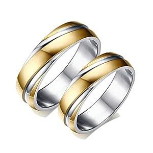 Aeici Ringe Damen und Herren Trauringe Edelstahl Gold Silber Ring 6Mm Gold Ringe Paar