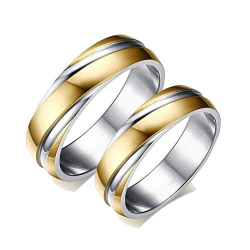 Aeici Anillos de Compromiso y Matrimonio Anillo Compromiso Acero Inoxidable Anillo Oro Plata 6Mm Oro Mujer 30 + Hombre 20