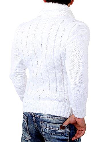 Tazzio Strickpullover Herren V-Neck Grobstrick Pullover mit Schal TZ-442 Weiß