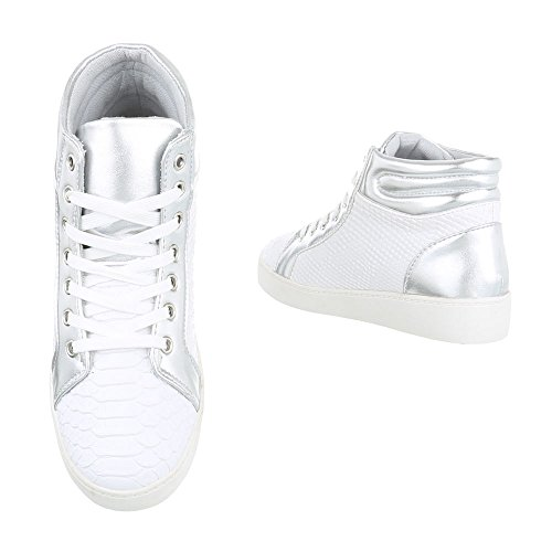 High-Top Sneaker Damenschuhe High-Top Sneakers Schnürsenkel Ital-Design Freizeitschuhe Weiß