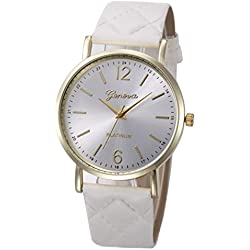WINWINTOM Roman Leather Band Analog Quartz Wrist Watch White