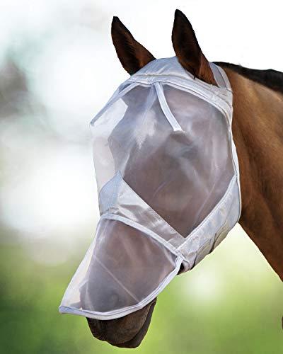 Harrison Howard CareMaster Maschera Anti Mosche per Cavallo UV Protezione con para Naso Argento