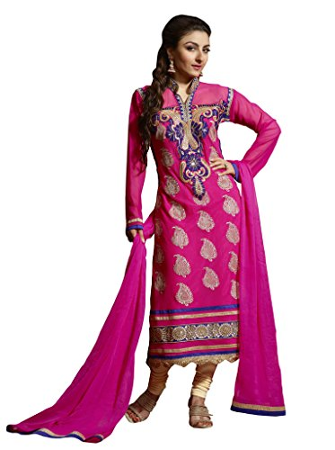 Ewows Women's Georgette Dress Material (DRLAV1258_Free Size_Pink)