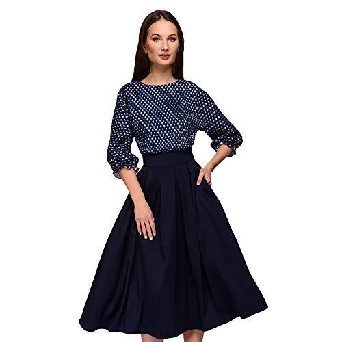 Damen Langarm Kleid Elegant Punkt Festliche Kleider Schwingen Vintage Rockabilly Kleid Faltenrock Elegant Langes Abendkleid von (Pocahontas Halloween Outfit)
