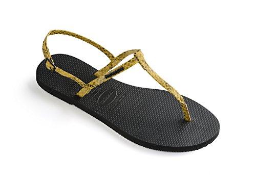 Havaianas Unisex Schuhe Damen und Herren, Riviera Croco, Sandalen mit Zehentrenner und Riemen aus gemustertem Ökoleder, Gelb (Yellow), EU 41-42 -
