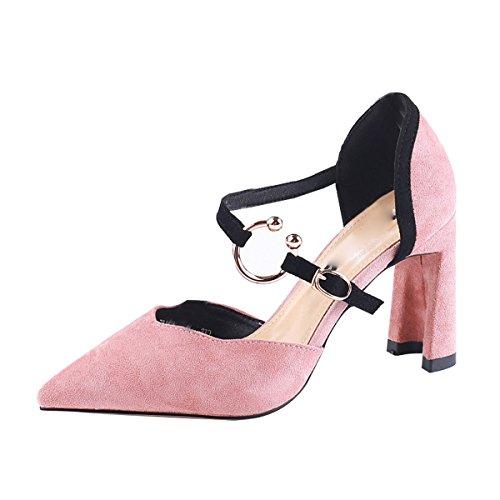 KPHY Scarpe da Donna/già 9Cm Scarpe col Tacco Alto Dura E di Colore di Moda Summer Sexy Parola Fibbia Jigsaw Scarpe.35 Rosa