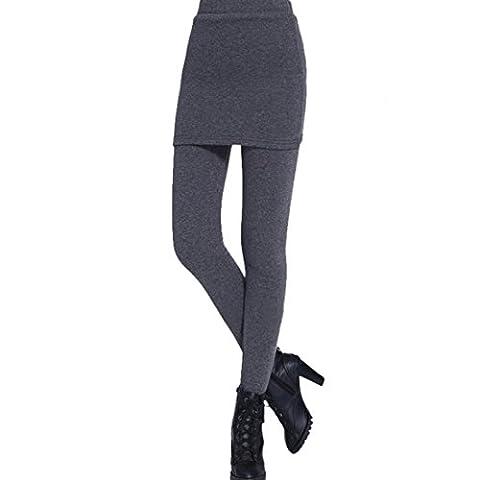 Vertvie Femme Fille Pantalon Leggings Jupe en Polaire Chaud Extensible Slim Automne Hiver Coton (XXL, Gris