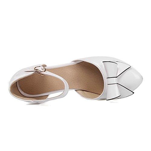 VogueZone009 Femme à Talon Correct Couleur Unie Boucle Verni Rond Chaussures Légeres Blanc