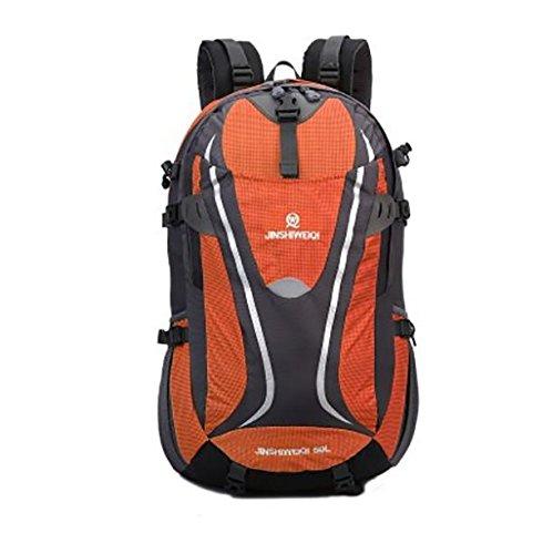 LINGE-Grande capacità zaini zaino borsa da viaggio impermeabile outdoor Trekker per uomini e donne 50L , blue Orange