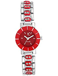 YOUTH CLUB SHINE WHITE PEARLY ANALOG RED DIAL WOMEN'S WATCH-LTL-RD