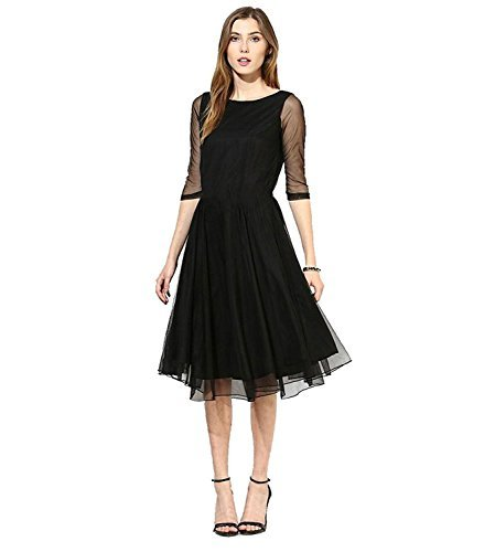 Purva Art Girls Western wear Black Net Tunic / Kurti (PA_781_Black _Net)