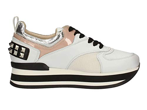 Janet Sport 43706 Cleo Sneaker Donna in Pelle Bianca White, 38