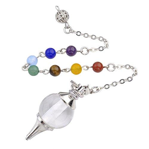 QGEM Pendule Radiesthésie Divination Pendentif Boule avec Bracelet Énergie en 7 Pierre Chakra(Quartz Cristal de Roche Blanc)