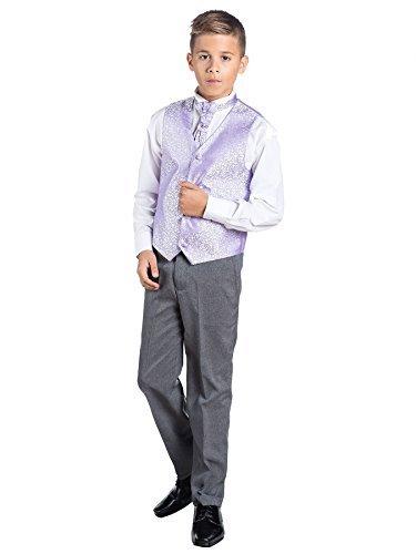 Kostüm mit Weste und grauer Hose, für Jungen, formal, für Hochzeiten Gr. 8 Jahre, Lilas (Costume Gris Cravate)