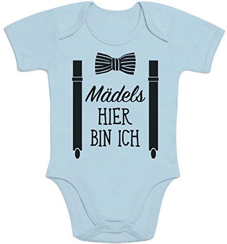 Shirtgeil Mädels, Hier Bin Ich! - Geschenk für Neugeborene Jungen Baby Kurzarm Body (0 - 3M, Hellblau)