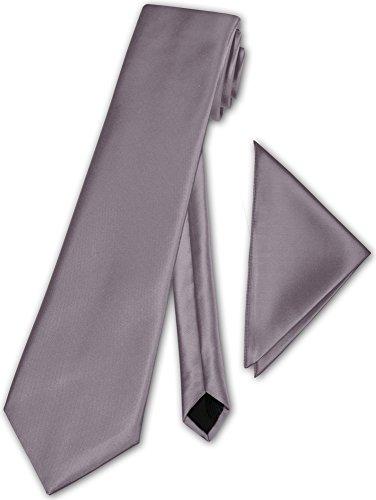 Herren Krawatte klassisch mit Einstecktuch Klassik Anzug Satinkrawatte - 30 Farben (Silber)