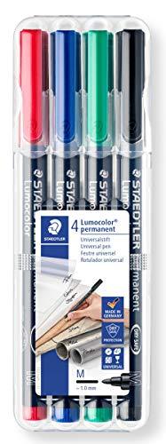 Staedtler 317 WP4 Feinschreiber Universalstift Lumocolor permanent, Staedtler Box mit 4 Farben