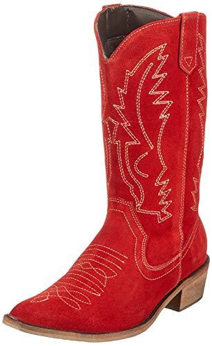 Kick Footwear Damen Western Leder Cowboy Stiefel Spitz Zehen Damen Breite Kalb Stiefel - UK 7 / EU 40, Rot