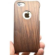 RoseFlower® iPhone SE / iPhone 5S / iPhone 5 Funda de Madera - Círculo de nuez - Natural Hecha a mano de Bambú / Madera Carcasa Case Cover con GRATIS Protector de Pantalla para tu Smartphone