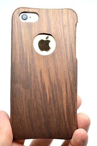 RoseFlower® Luxus Holz Schutzhülle für iPhone SE/iPhone 5S / iPhone 5 (10,2 cm (4 Zoll) - Walnuss mit Kreis Handyhülle - Natürliche Handgemachte Holzhülle Hülle Handytasche Handy Case Cover