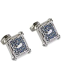 ROHIT BAL Silver Tone Copper Carved Cufflinks for Men