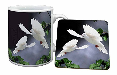 Advanta - Mug Coaster Set Zwei schne weiße Tauben Becher und Untersetzer Tier Geschenk Mug Coaster Set