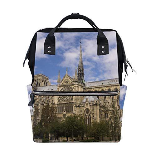 Lebendige Happy Notre Dame De Paris Große Kapazität Wickeltaschen Mummy Rucksack Multi Funktionen Windel Wickeltasche Tote Handtasche Für Kinder Babypflege Reise Täglichen Frauen - Kathedrale Türen