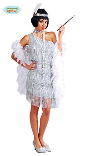 (silbernes Charleston Kleid Karneval 20er Jahre Party Kostüm Fransen Damen Gr.S - L, Größe:L)