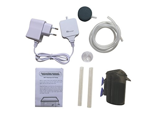 Hpumps Aquarium Air Pump, Super Silent High Efficient Oxygen Atmen Wasser Luftpumpe für Fisch Tank mit Filter Air Stone und Tube und Sucker