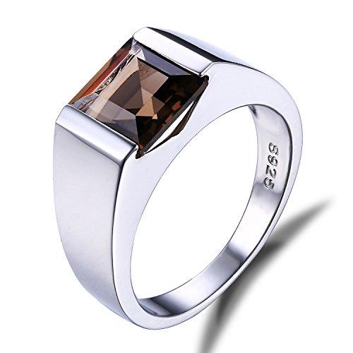 JewelryPalace Anillo cuadrado ahumado cuadrado de plata esterlina 925 de los hombres Tamaño 22