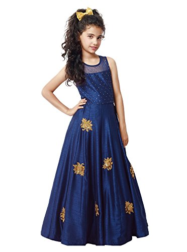 CartyShop Girl\'s Blue Banglori Silk Embroidery Patch Work ReadyMade Partywear Girls Gown_(7-8 years)