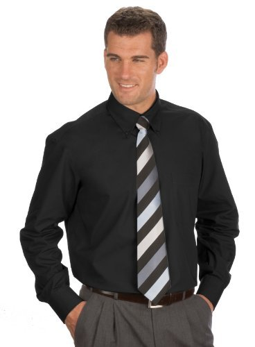 Langarm Uni Hemd Button Down, Gr. XL (43/44), schwarz (Baumwoll Hemd Button-down)