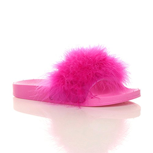 Donna Basse FINTO piuma di pelliccia SLIP ON Infradito Sandali Sabot Comfort Pantofole NUMERO FUCSIA PIUMA