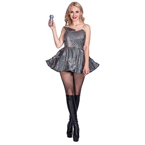 er Super Star Konzert Halloween Kostüm Schwarzes Kleider (Halloween Kostüme Pop Star)