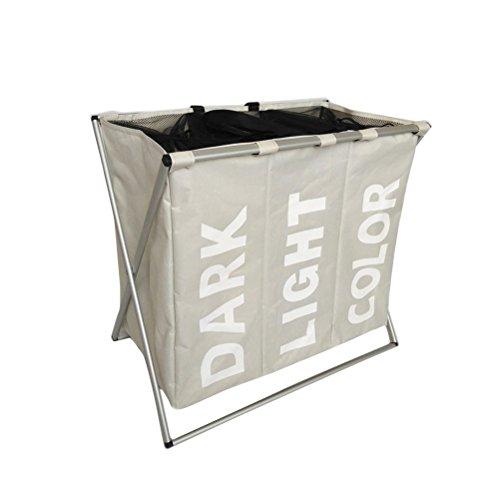 Cesto portabiancheria,ounona cesto per vestiti e biancheria sporchi con 3 scomparti pieghevole