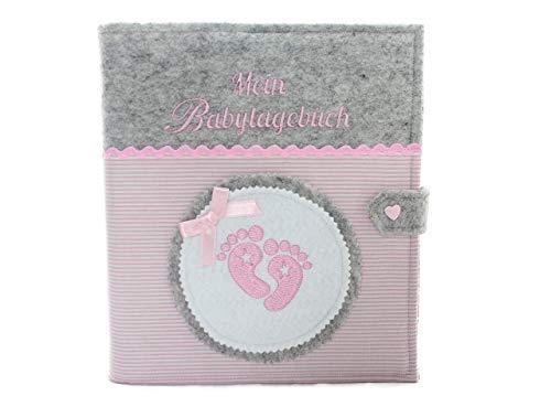 Babytagebuch, Babyalbum DIN A5, Babyfüsschen, Geschenk zur Geburt, Baby, Babys erstes Jahr, mit 46 Innenseiten zum Ausfüllen