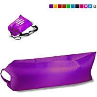 Hot Cielo airsofa Outdoor gonfiabile Beach Lounger–portatile compressione divano Air Bag–Leggero, Portatile Ground–Amaca confortevole Poltrona pouf, Purple