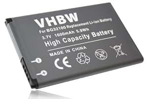 vhbw Li-Ion Batterie 1600mAh (3.7V) pour HTC Desire S, PG88100, S510, S510E, Saga, Google G12 remplace BA S530, BG32100